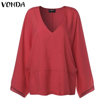 VONDA Women Sexy V Neck Long Sleeve Blouse Shirts 2019 Spring Autumn Tops Casual Loose Blusas OL Shirt Plus Size 5XL 5