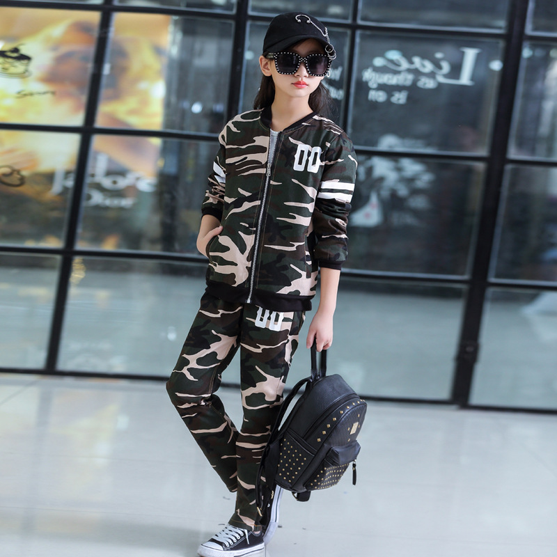 Image 3 - Childrens Suit Spring and Autumn Clothing Boys and Girls Sports Fashion Baseball Collar New Big Childrens Camouflage ClothingClothing Sets   -