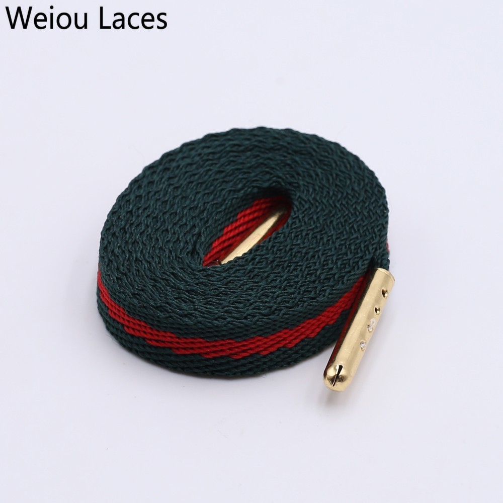 Weiou 8mm Green Red Webbing Ribbon Shoelaces Polyester Flat Laces Single Layer Shoestrings With Plastic Tips For Shoes Sneakers