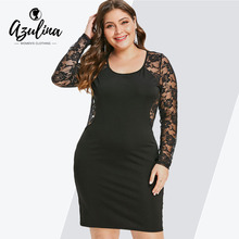 46362936ab AZULINA Plus Size Floral Lace Sexy Mesh Insert Women Long Sleeve Pencil  Dresses Mini