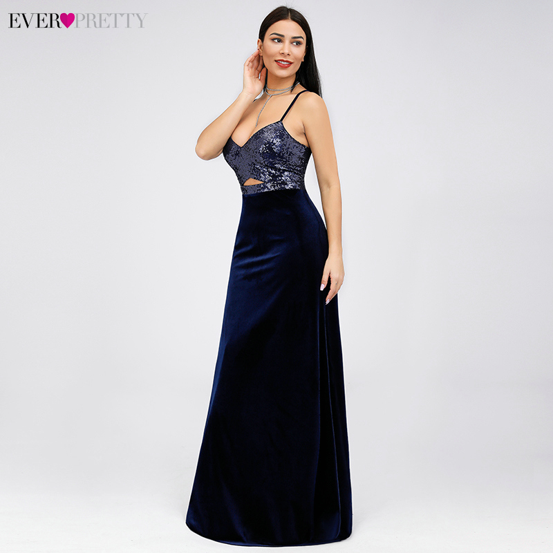 Sexy Satin   Prom     Dresses   Ever Pretty A-Line V-Neck Shiny Sequined Sleeveless Formal   Dresses   EP07863 Elegant Women's Party Gowns