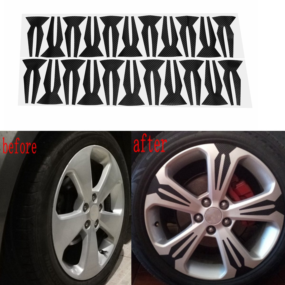 20Pcs/Set 4D Carbon Fiber Car Wheel Tire Hub Stickers Rim Sticker For Chevrolet For Cruze 2009 2010 2011 2012 2013 Car Styling