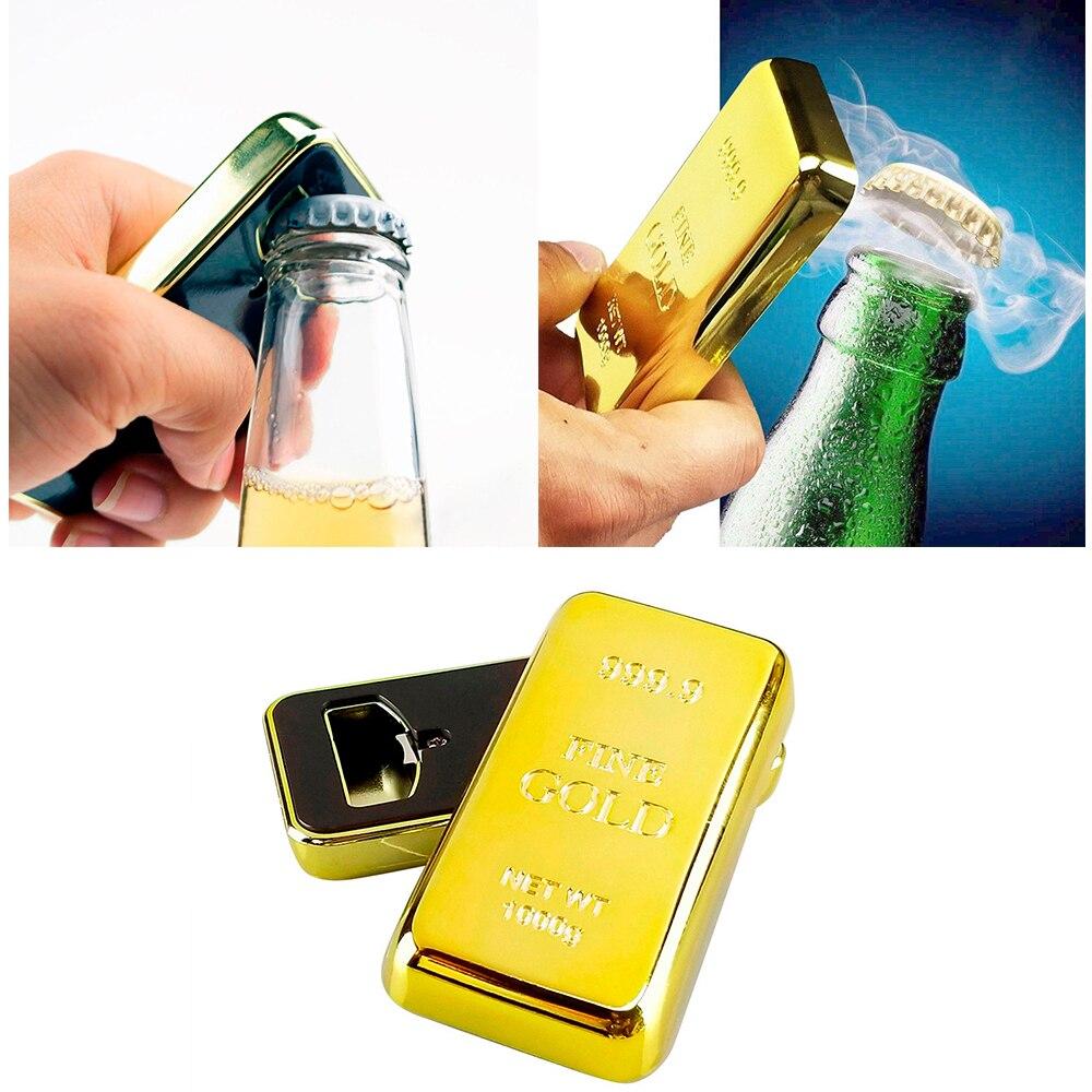 1pc Imitation Gold Bar Bottle Opener Plastic Fake Bullion Beer Cap Remover With Magnet Fridge Decor For Kitchen Gadget Bar Tools