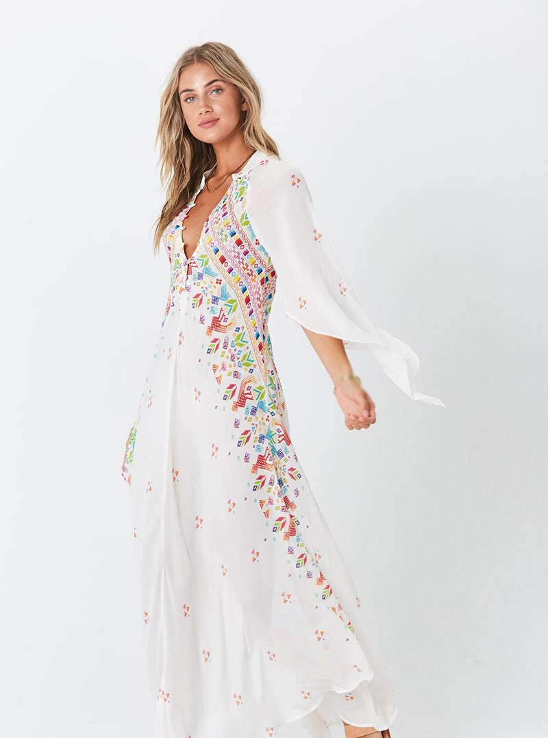 Summer Women Bohemian Dresses Print V-Neck Long Vestidos Flare Sleeve Beach Dress