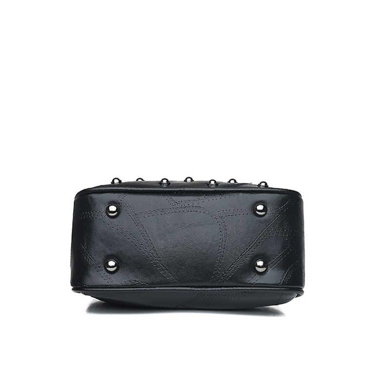 Witfox 100% bolso de cuero genuino con remaches de puntos para mujer estilo punk Boston para mujer bolso de hombro con cremallera de doble cara con paneles