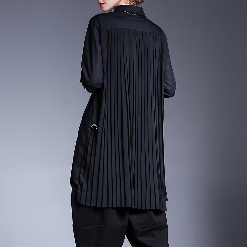 Plissiert Einfarbig Gre New Gemeinsamen Jd328 e eam2019 Lange Bluse Mode Split Autumnlapel Gro Frauen Schwarz Unregelmige Flut Schwarz hdrCBtsQx