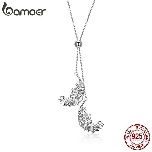 BAMOER Vintage Genuine 925 Sterling Silver Feathers Shape Long Chain Feather Necklaces Pendants Sterling Silver Jewelry SCN322
