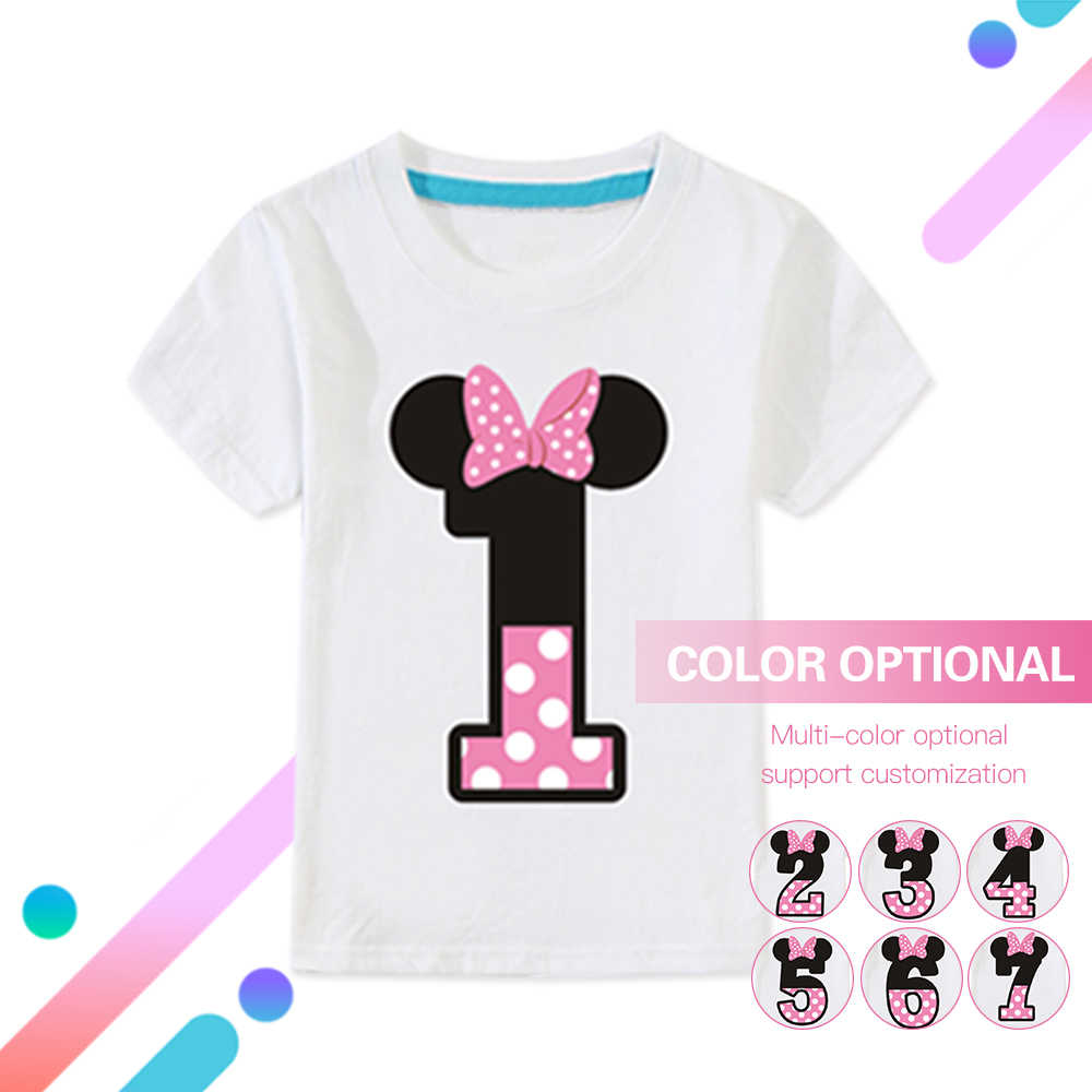 491fbcaf 2-14 Year Number Letter Print Girls Happy Birthday T-Shirt Kids Cute  Bow-tie T Shirt Little Baby Children Pure Cotton Tops