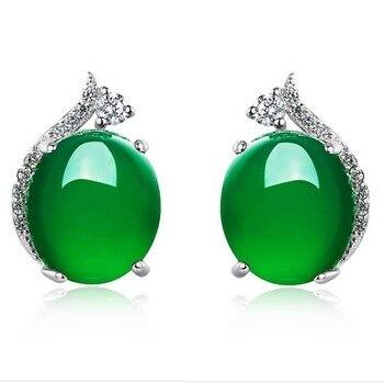 Pendientes de peridoto de plata S925 para mujer pendientes redondos de Jade de corona Simple joyería fina de San Valentín 925 Plata para mujer
