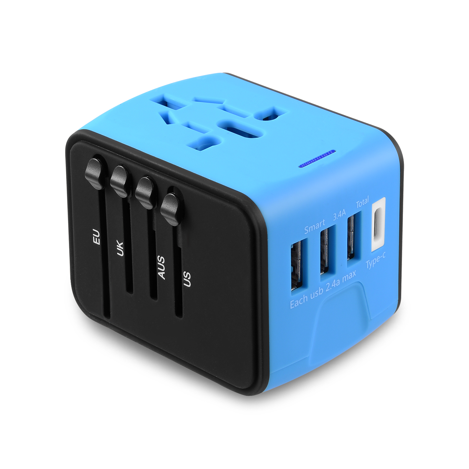 Universal Travel Adapter Type C 4 USB International Power Plug Converter Wall Charger for UK European EU AU US for 200 Countries