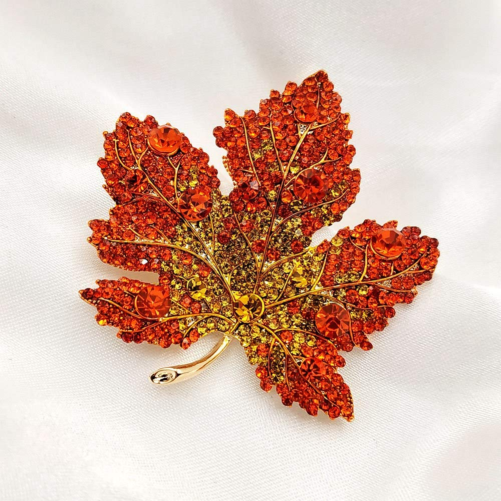 Image 3 - Vintage Stylish Full Micro Pave Yellow Orange Red Crystal Big Maple Leaf Brooch Gold Tone Canadian Maple Leaf Pin Autumn Jewelry-in Brooches from Jewelry & Accessories