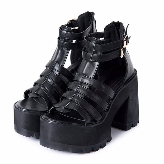 US $27.31 55% OFF Chunky ferse sandalen punk schuhe Sandalen High Heels Plattform Sandalen Frauen Sommer Schuhe alias romanas frauen sandalen