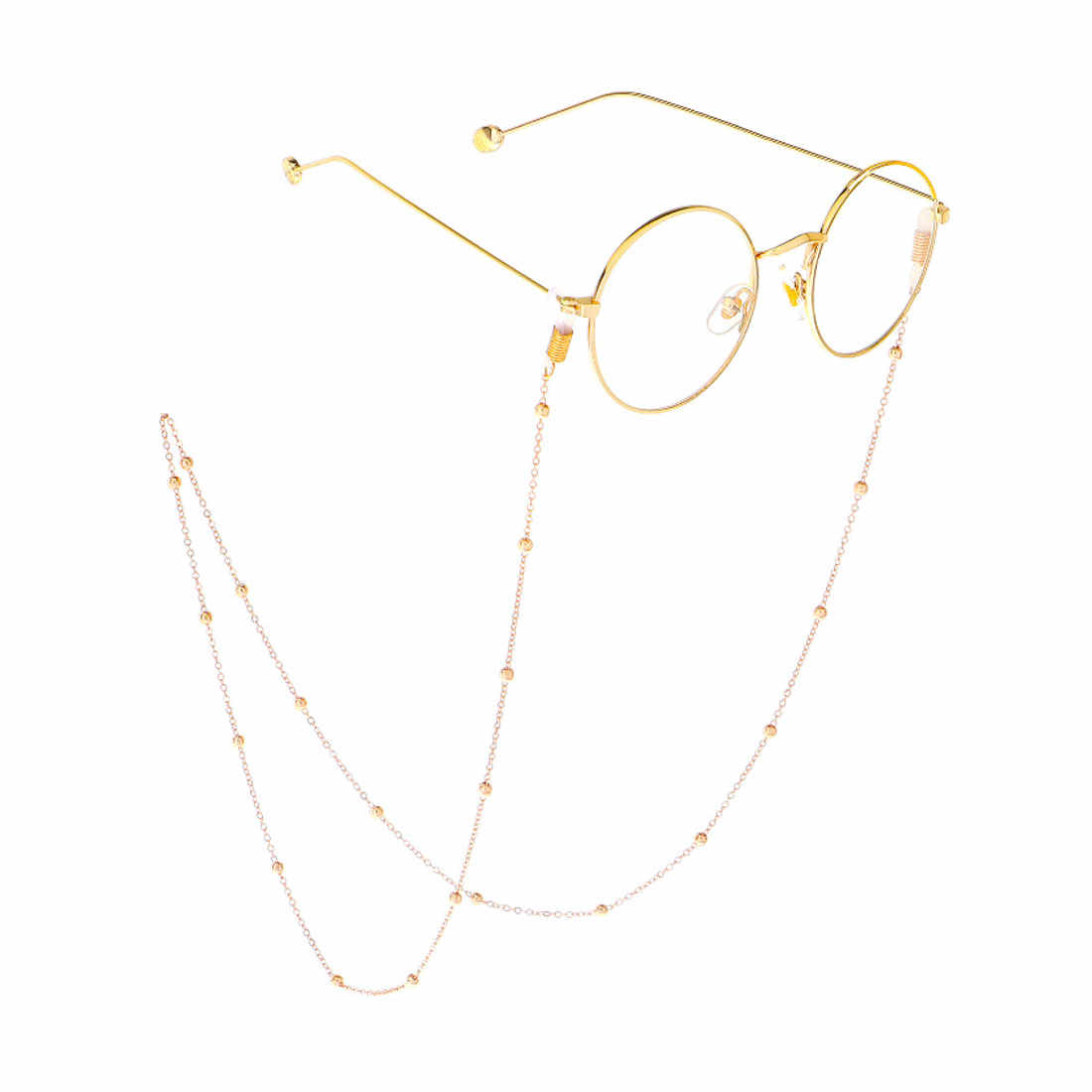 Fashion Reading Glasses Chain for Women Metal Sunglasses Cords Beaded Eyeglass Lanyard Hold Straps Gold silver Eyewear Retainer