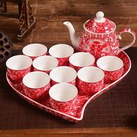 High grade Chinese wedding gift bridal supplies red ceramic teacup teapot double happiness tea pot heart shaped tray set
