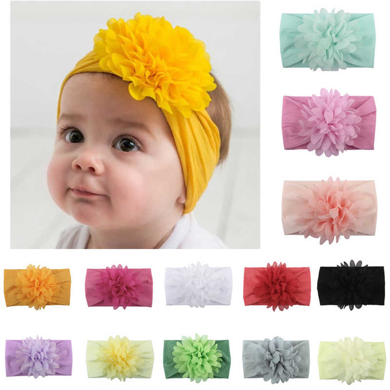 Baby Girl Headbands Sweet Kids Girl Baby Headband Infant Newborn Flower Bow Hair Band Accessories Baby Chiffon Flower Headband