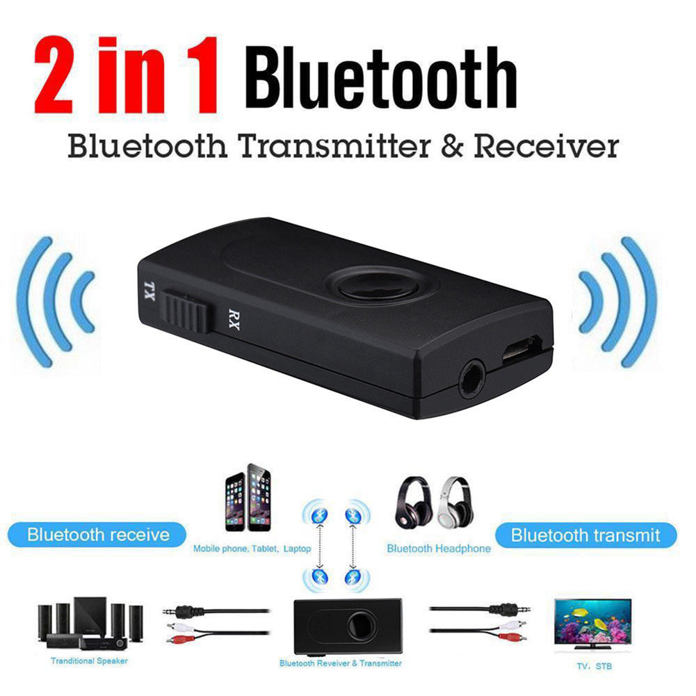 2 In 1 Transmitter Stereo Receiver A2DP Adapter Portable 3.5mm Bluetooth Black Music Wireless