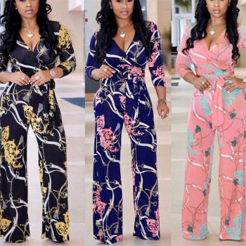 Plus Size Womens V-Neck Long Sleeve Jumpsuit arrival Ladies Autumn Clubwear Floral Print Playsuit Party Jumpsuit Long Trousers 2