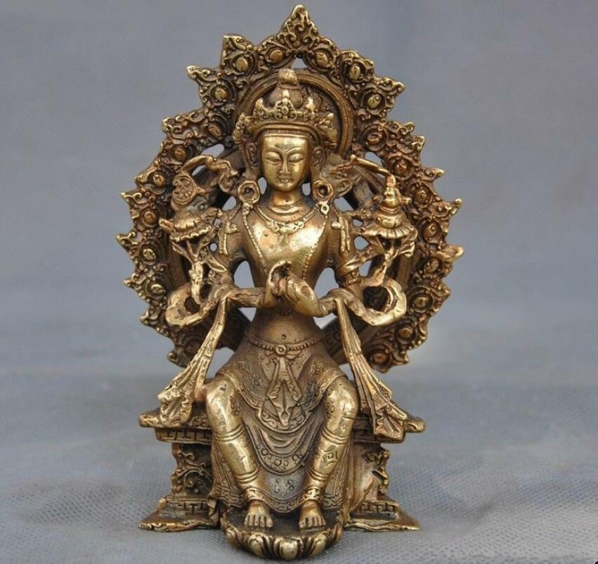 Tibetan Temple Buddhism Prayer Tara Guanyin Kuan Yin Buddha Goddess Statue-in Statues & Sculptures from Home & Garden    1