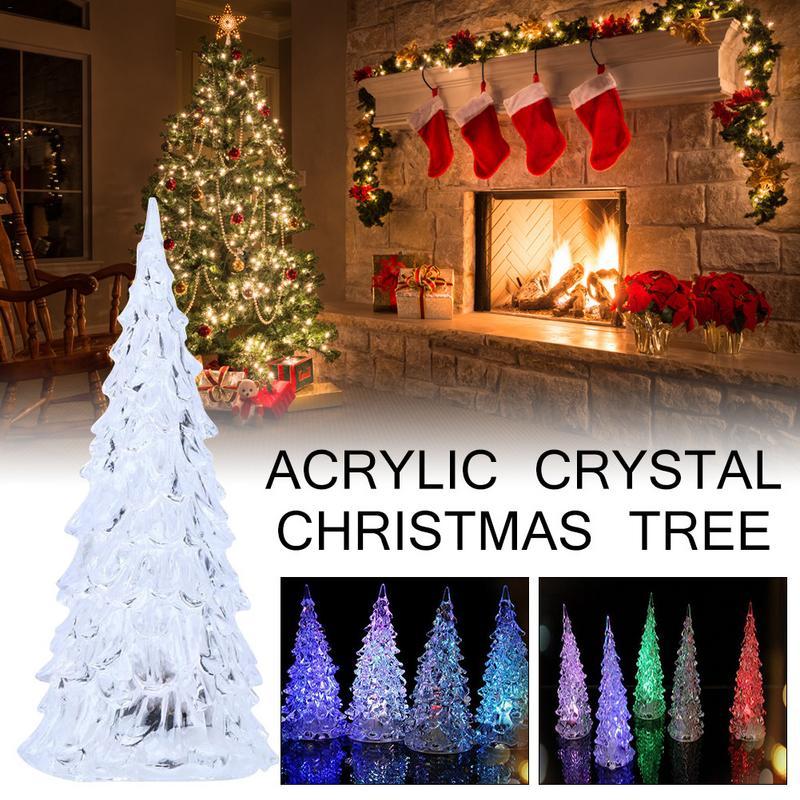 Wholesale colorful acrylic crystal Christmas tree flashing light night  small Christmas tree Home Mall Festival decoration 1pc - Wholesale Colorful Acrylic Crystal Christmas Tree Flashing Light