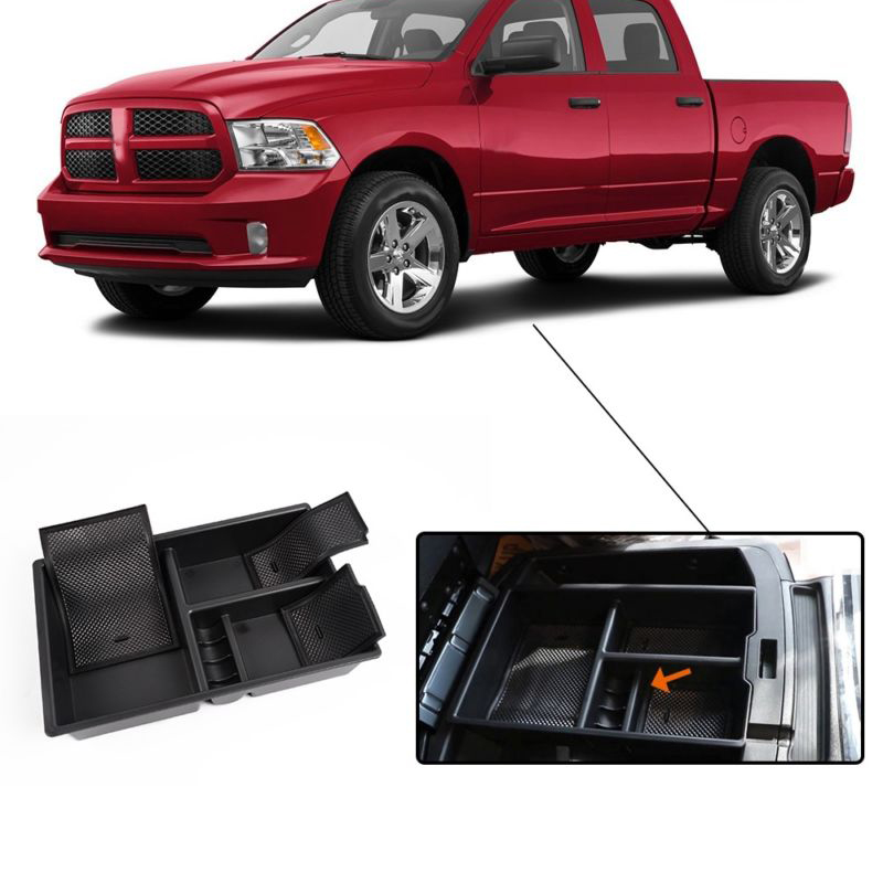 Center Console Organizer Car Tray Storage Box For Dodge Ram 1500 Truck 2009-2017 Black