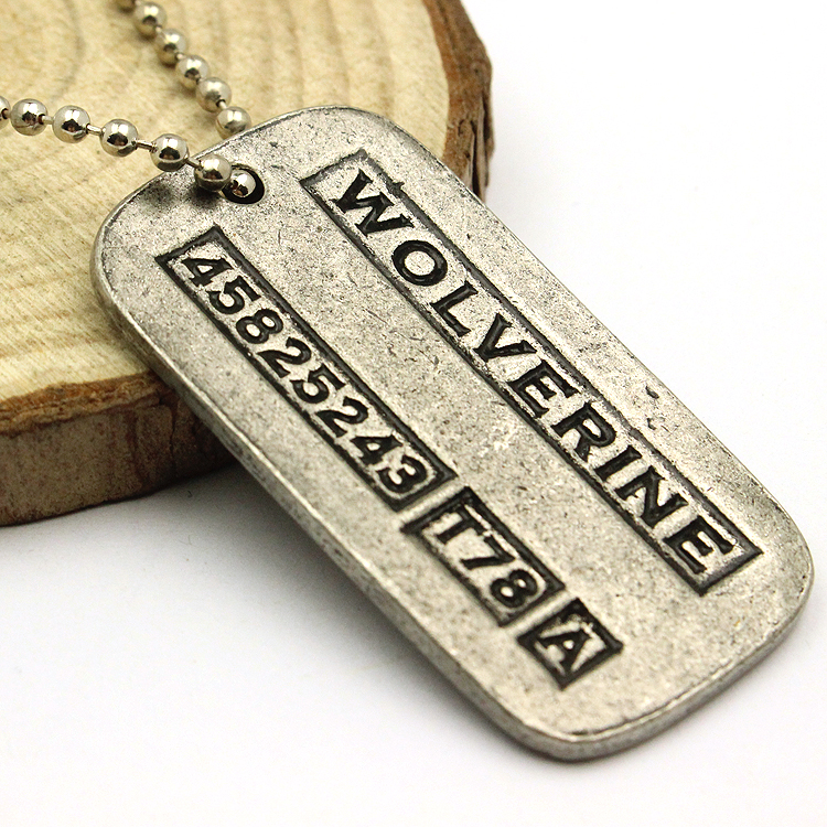 2017 Movie X-Men Origins Wolverines Dog Tag ID Kaklarota Cinka sakausējums Marvel X Men Jame Logan kulonu rotaslietas