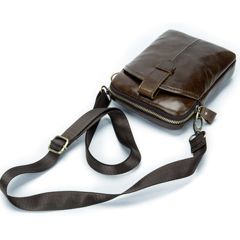 Vintage Men Messenger Bags Genuine Leather Mini Travel Bag