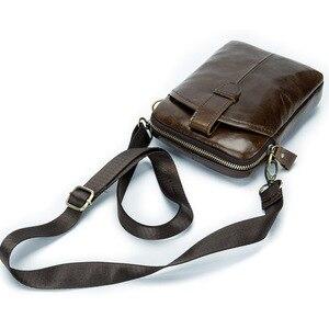 Image 1 -  Vintage Men Messenger Bags Genuine Leather Male Mini Travel Bag  Man Shoulder Bags Small Crossbody Bag For Mens Men Leather Bag
