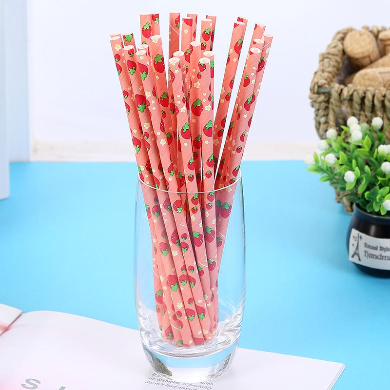 Drink-Straw Environmentally-Friendly Paper For Wedding-Party 25PCS Collection-Juice Fruit-Pattern