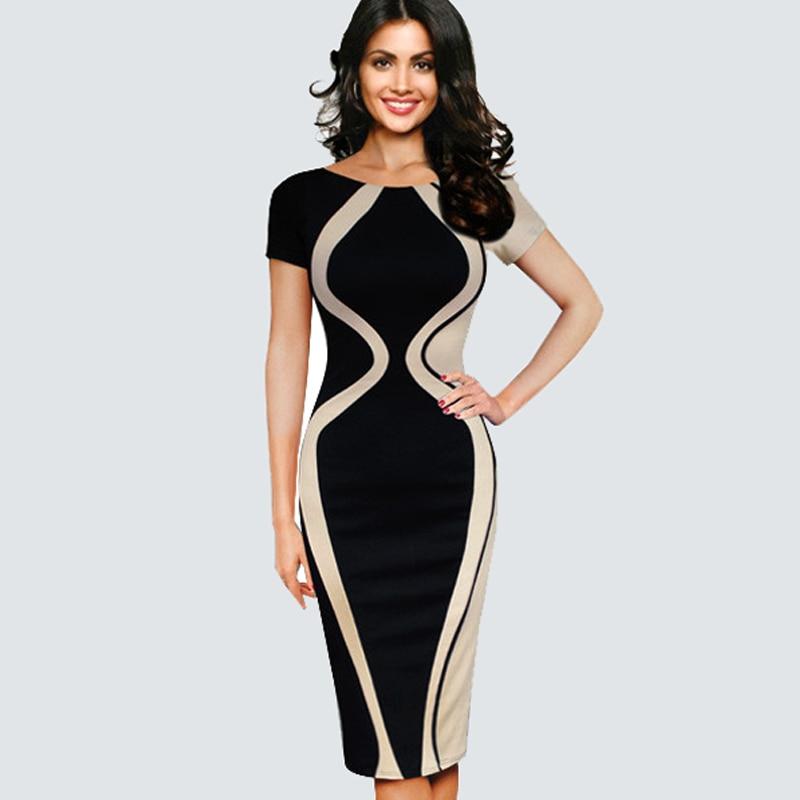 Patchwork Kontrast Fashion Optional Illusion Rundhals Kurzarm Vintage Sommer Kleid Dame Geschäfts Zipper Büro Kleid B315