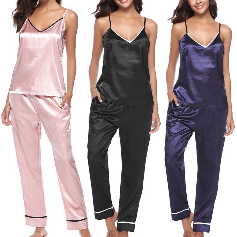hirigin 2Pcs Women Silk   Pajamas     Set   Sleepwear V-neck Vest And Long Pants Casual Nightwear Homewear S-XL