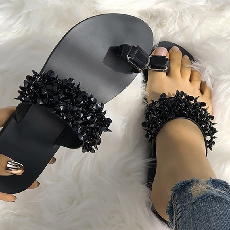 2019 Women Shoes Sumnmer Slippers Flip Flops Crystal Sandals Outside Shoes Flat Heel Sandalias Mujer in Slippers from Shoes