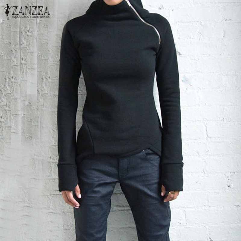 New Women Casual Solid Long Sleeve Pullovers Hoodies Turtleneck Slim Fit Zippers 2019 Autumn Sweatshirts Plus