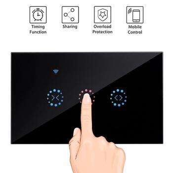 Aplikacja ewelink US EU WiFi ściana osłonowa przełącznik elektryczny zmotoryzowany rolety rolety rolety Google Home Alexa sterowanie głosem tanie i dobre opinie 110-240 v Wifi Curtain Switch 2200W 100-250V AC