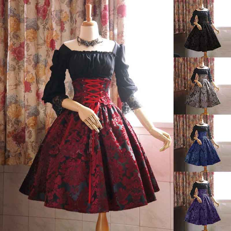 False Two-piece Dresses Lolita Printed High Waist Long Sleeve Lace Victorian Gothic Black Red Gray Women Costume Plus Size 5XL