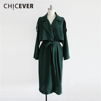 CHICEVER Spring Casual Solid Thin Women Coat V Neck Long Sleeve Button Bandage Bow Slim 2019 Women's Coats Fashion New Korean