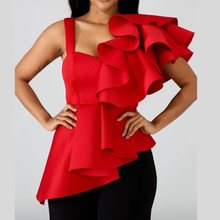 купить Women Ruffle Long Blouse Sexy Elegant Stylish 2019 New Arrival Red Party Club Summer Tops Asymmetric Hem Slim Ladies Blouses в интернет-магазине