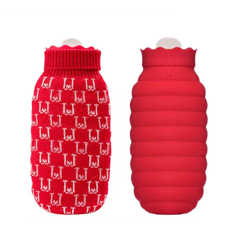 620ml Hot Water Bag Microwave Heating Silicone Bottle Winter Heater With Knitted Cover Warmer Hot Water Bottle Edible Silica Gel