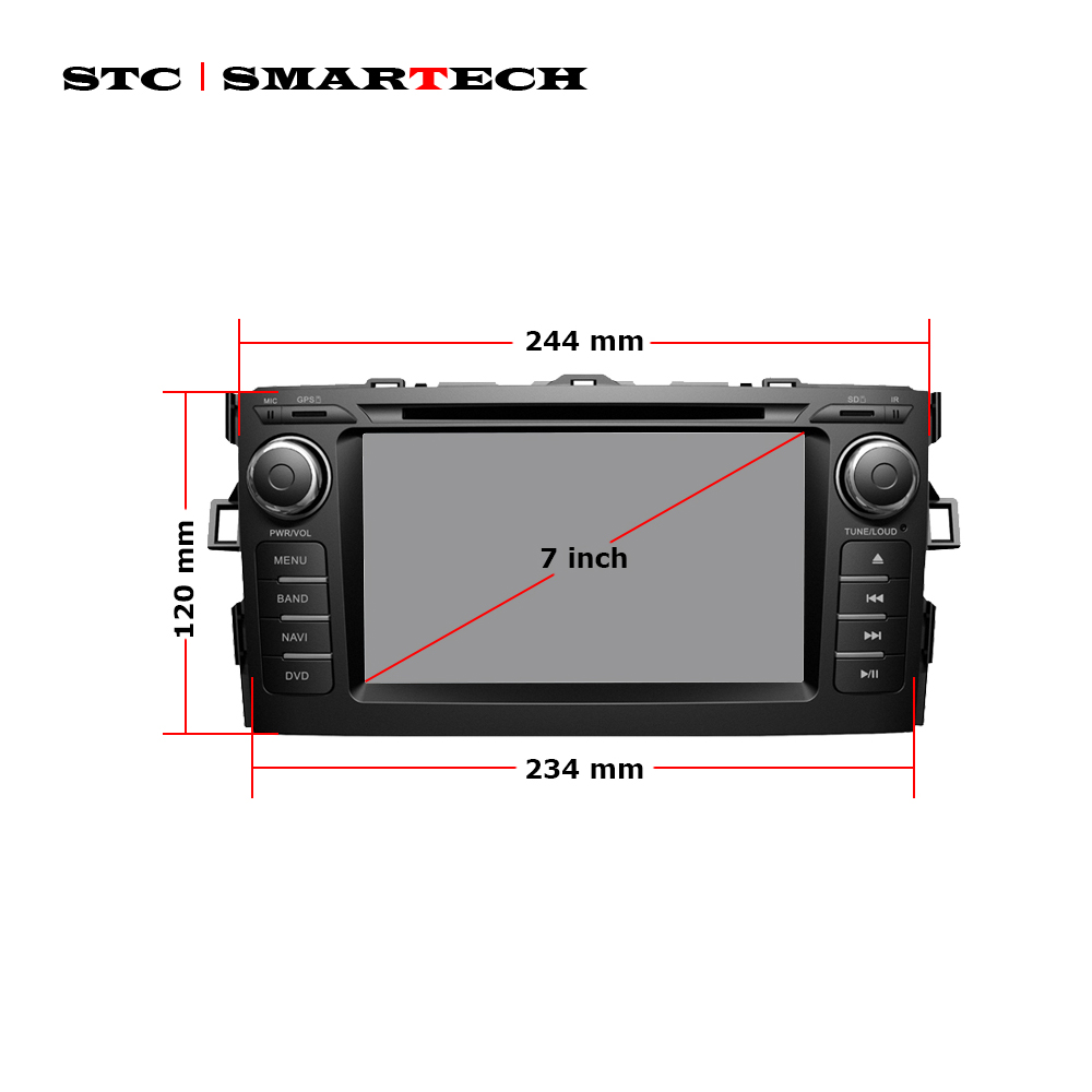 US $285 0 |SMARTECH 2 Din Android 8 1 Car Audio Radio DVD GPS Navigation  System For Toyota Auris hatchback Quad Core 2GB RAM 16GB ROM-in Car