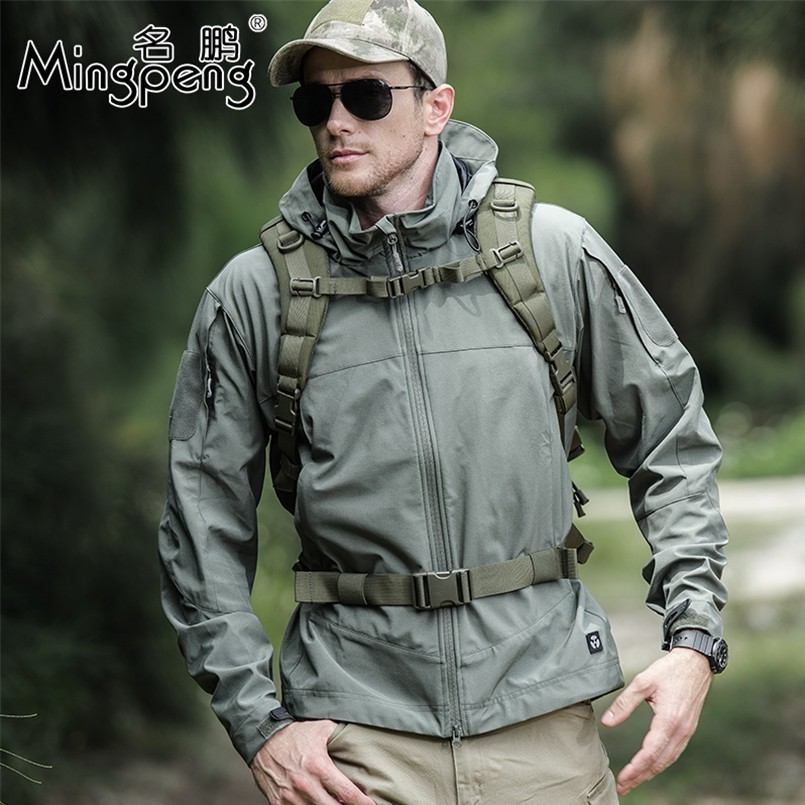 Military Tactical Outdoor Soft Shell Hiking Sport Jackets Man Spring Autumn Waterproof Hoodie Coat Casual Clothing