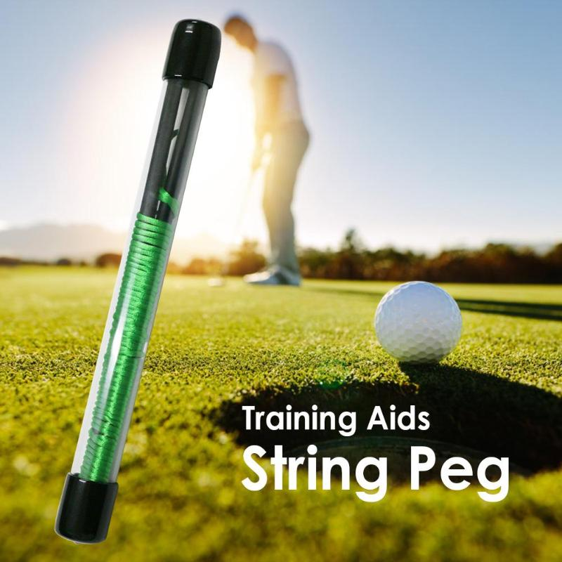 Golf Putt Trainer Alignment Solid Sticks Fiberglass Swing Putting String Direction Pegs Golf Direction Practice Training Aids