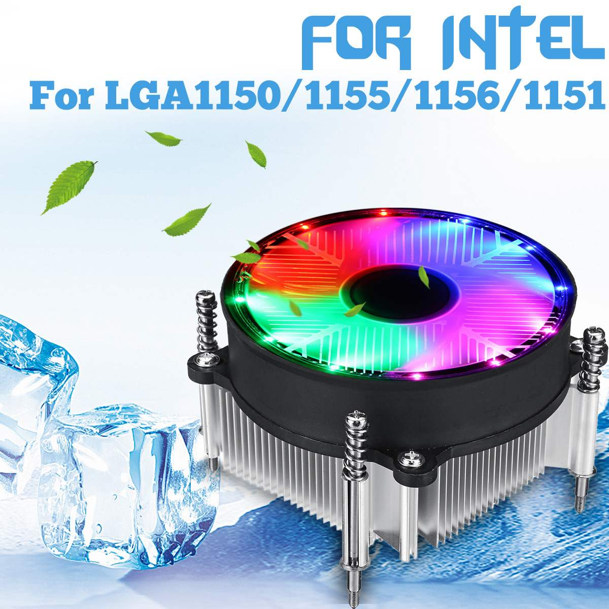 CPU <font><b>Cooler</b></font> Cooling Fan for Intel LED Silence 3Pin Fan Radiator Heatsink <font><b>Cooler</b></font> Support for Intel 115X Series 1150 1155 <font><b>1156</b></font> 1151 image