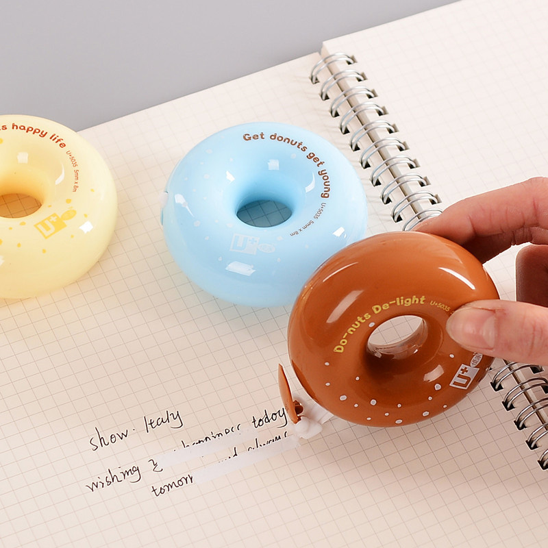 1PC Creative Lovely Donuts Correction Tape Cute Plastic Corrector Tape For Kids Novelty Item Korean Stationery School Supplies