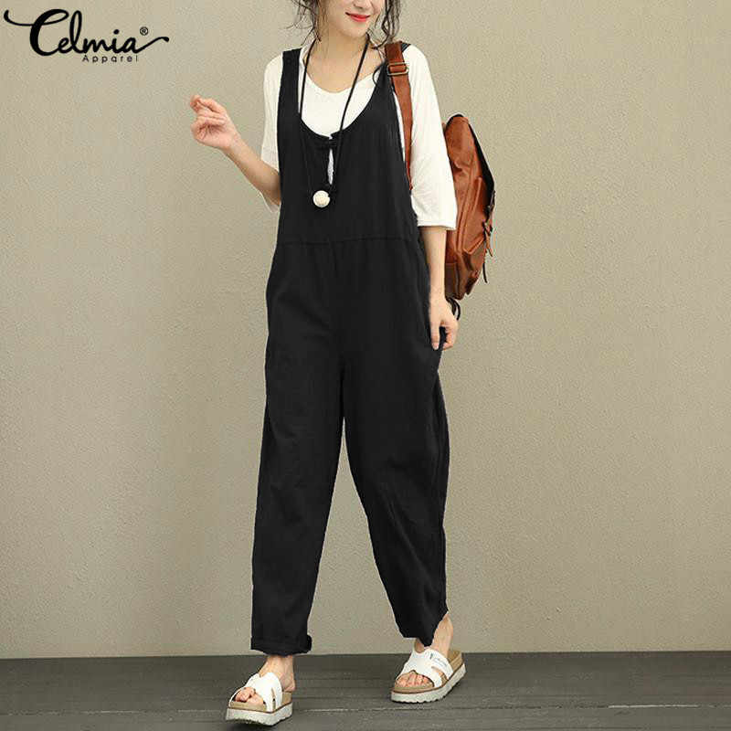 Celmia Women Summer Jumpsuits 2020 Wide Leg Long Rompers 캐주얼 민소매 단추 Loose Playsuit Overalls Retro Linen Dungarees