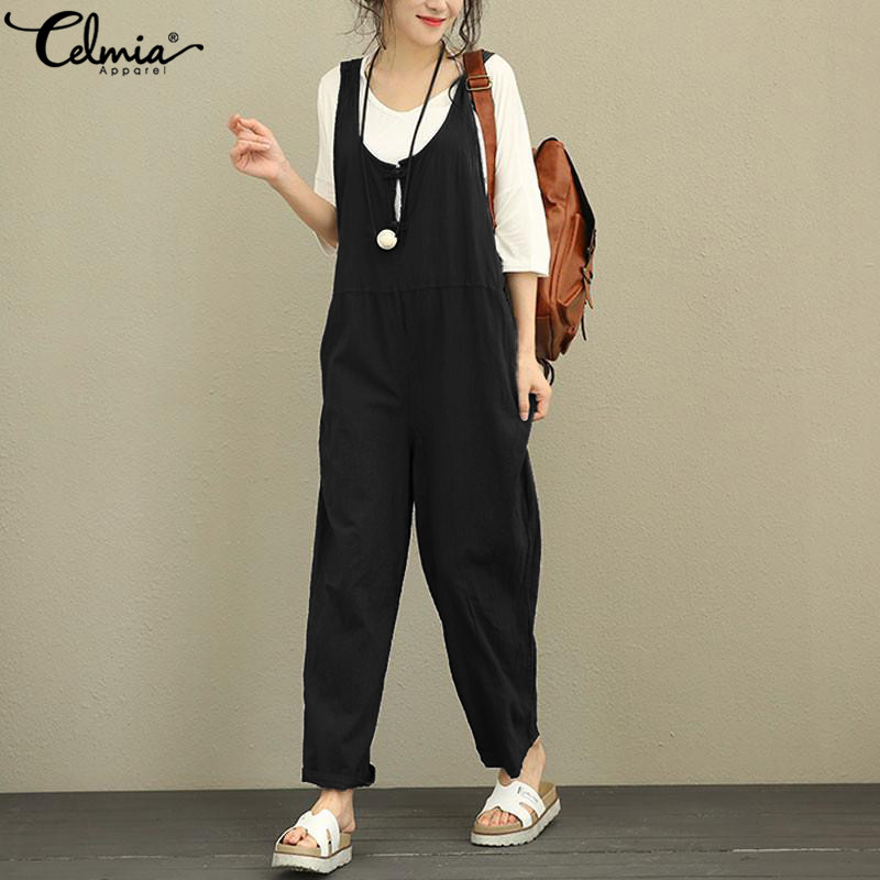 Celmia Women Summer Jumpsuits 2019 Wide Leg Long Rompers Casual Sleeveless Buttons Loose Playsuit Overalls Retro Linen Dungarees