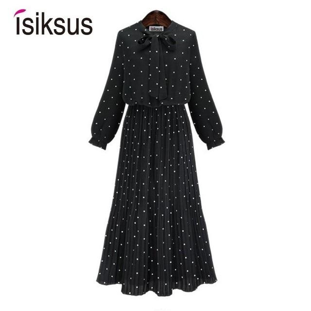 Isiksus יפה נשים שמלה אלגנטית ארוך שרוול בציר שמלה בתוספת גודל מנוקדת פורמליות המפלגה משרד שמלות לנשים DR179