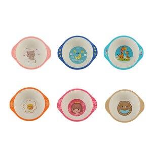 Чаша для кормления детей из бамбукового волокна, детская посуда, антиобжигающая мультяшная бинауральная посуда для детей, детская посуда