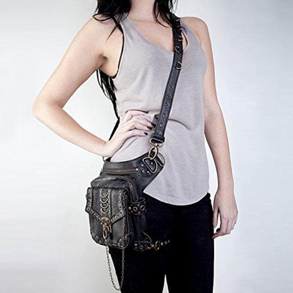 Steampunk Retro Motorcycle Bag Lady Bag Retro Rock Gothic Goth Shoulder Waist Bags Packs 2