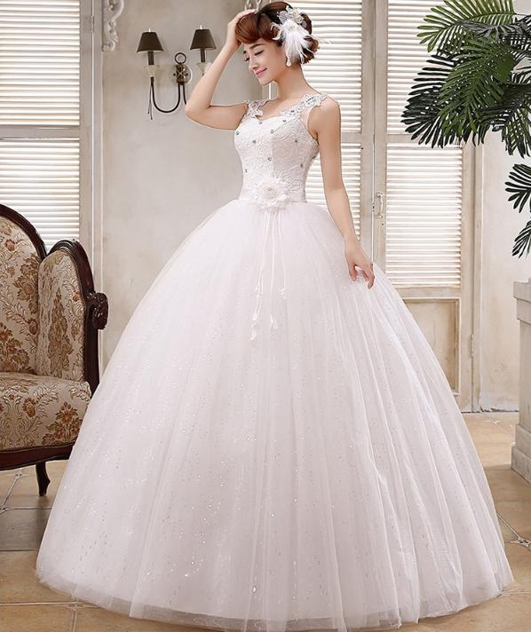 LASONCE Crystal V Neck Flowers Sash Ball Gown Wedding Dresses Lace Appliques Tank Sequined Backless Bridal Gowns