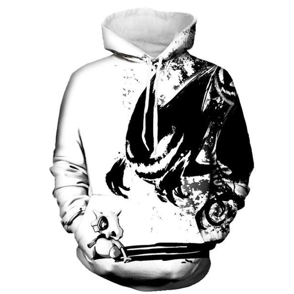 Black Demon Pattern Print Hoodies Men Hoodie with Hat Round Neck Loose Sweatshirt Pullover Sudaderas Para Hombre Streetwear