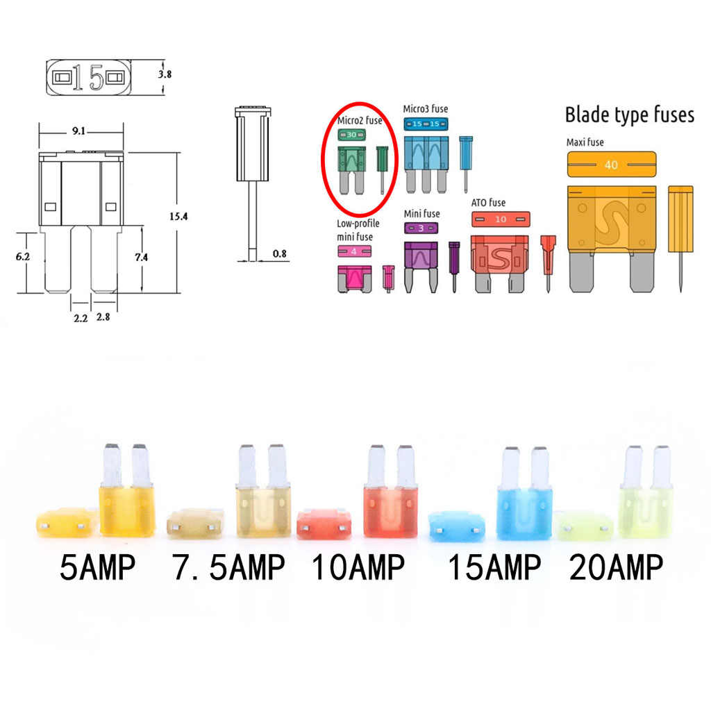 hight resolution of  10 pieces micro2 atr car automotive fuses assorted 5a 7 5a 10a 15a 20a space saving